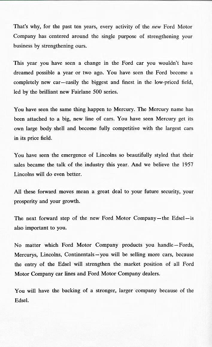 Edsel historical documents announcement by henry ford ii to all ford motor company dealers about a new member of the ford family of fine cars the edsel november 19 1956 cover madrichimfo Gallery