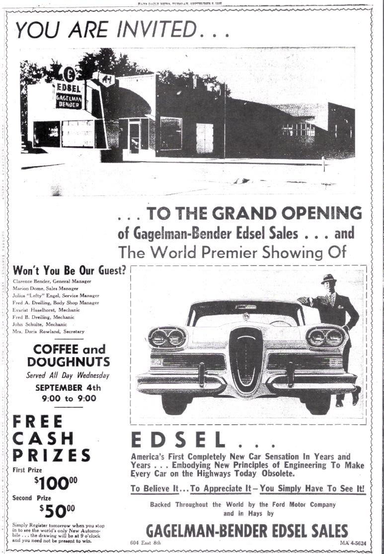 ... Hutchison A.D. Rayl Edsel Sales 1401 West 4th. Hutchinson MORE MORE Sanders Edsel Sales 622 Mass. Street Lawrence Schrey Motors 719 Delaware Leavenworth ...