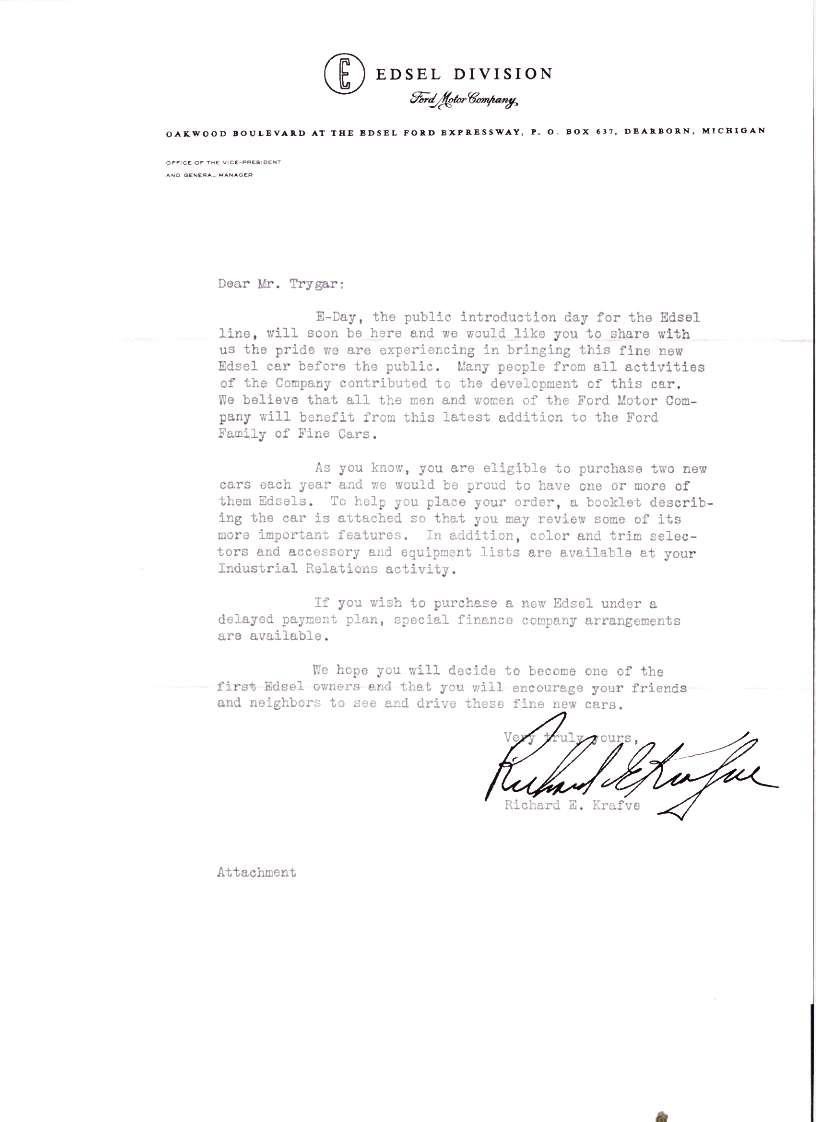 Edsel Historical Documents Windows Wiring Diagram Of 1958 This Letter Was Signed By Richard Krafve General Manager Division And Mailed Or Given To Ford Executives Around August 27 1957 We Have The